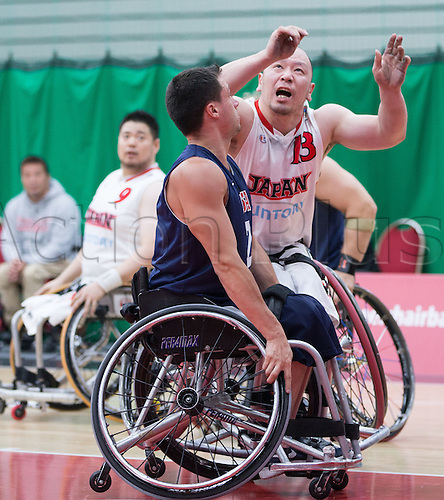03.07.2016. Leicester Sports Arena, Leicester, England. Continental Clash Wheelchair Basketball, USA versus Japan.  Mitsugu Chiwaki (JPN) and Jake Williams (USA) clash wheelchairs during the match