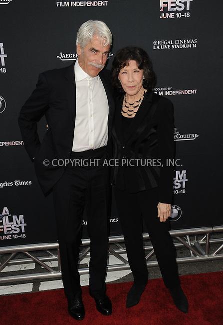 WWW.ACEPIXS.COM<br /> <br /> June 10 2015, Los Angeles Ca<br /> <br /> Sam Elliott and Lily Tomlin arriving at the 'Grandma' premiere at Regal Cinemas on June 10 2015 in Los Angeles Ca.<br /> <br /> Please byline: Peter West/ACE Pictures<br /> <br /> ACE Pictures, Inc.<br /> www.acepixs.com<br /> Email: info@acepixs.com<br /> Tel: 646 769 0430