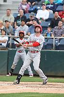 Doug Votolato (21) of the Spokane Indians bats during a game against the Everett AquaSox at Everett Memorial Stadium on July 24, 2015 in Everett, Washington. Everett defeated Spokane, 8-6. (Larry Goren/Four Seam Images)