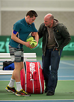 March 15, 2015, Netherlands, Rotterdam, TC Victoria, NOJK, Deney Wassermann  gets frustrated after loosing the final and is calmed  down by his father<br /> Photo: Tennisimages/Henk Koster