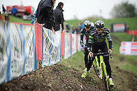 Sven&Sven at recon: Sven Vanthourenhout (BEL/Crelan-AADrinks) preceding teammate Sven Nys (BEL/Crelan-AAdrinks) on the tricky slope<br /> <br /> Jaarmarktcross Niel 2015