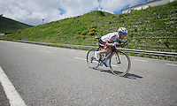Georg Preidler (AUT/Giant-Alpecin) descending at high speed from the highest point in the 2016 Tour; the Port d'Envalira (Cat1/2408m/22.6km at 5.5%)<br /> <br /> stage 10: Escaldes-Engordany (AND) - Revel (FR)<br /> 103rd Tour de France 2016
