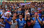 Fans of Shabab Rafah football club watch the first leg of the Palestine Cup final between Shabab Rafah and Hebron's Ahly al-Khalil football club at the Yarmouk Stadium in Gaza City on August 1, 2017. Photo by Ashraf Amra