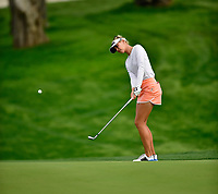 Jessica Korda of the United States chips up to the green on the 16th hole,  during the final round of the ANA Inspiration at the Mission Hills Country Club in Palm Desert, California, USA. 4/1/18.<br /> <br /> Picture: Golffile | Bruce Sherwood<br /> <br /> <br /> All photo usage must carry mandatory copyright credit (&copy; Golffile | Bruce Sherwood)
