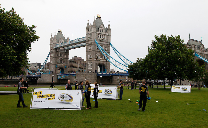 Photo: Richard Lane/Richard Lane Photography. O2 Touch Launch, an RFU initiative aiming to get England playing touch rugby at Potters Field, London. 17/06/2011. Event setup.