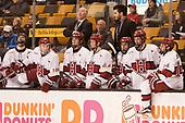 Devin Tringale (Harvard - 22), Ryan Donato (Harvard - 16), Ted Donato (Harvard - Head Coach), Ty Pelton-Byce (Harvard - 11), Michael Floodstrand (Harvard - 44), Rob Rassey (Harvard - Assistant Coach), Phil Zielonka (Harvard - 72), Lewis Zerter-Gossage (Harvard - 77), Alexander Kerfoot (Harvard - 14) - The Harvard University Crimson defeated the Northeastern University Huskies 4-3 in the opening game of the 2017 Beanpot on Monday, February 6, 2017, at TD Garden in Boston, Massachusetts.