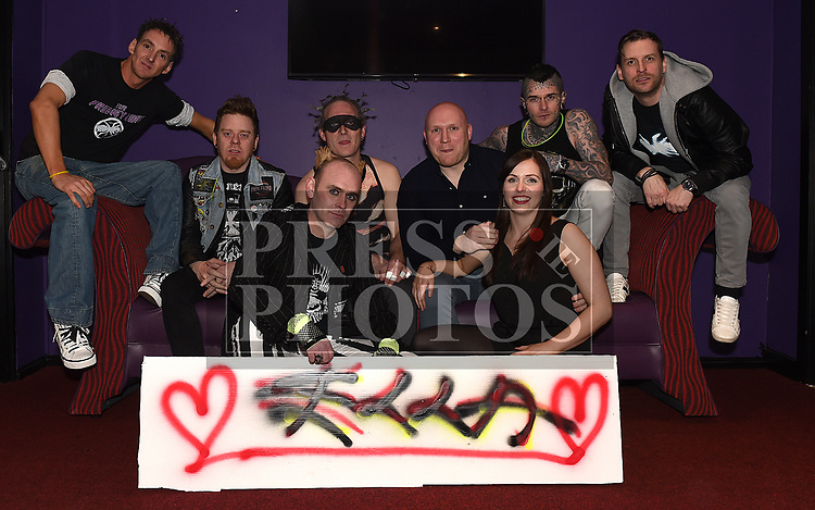 The Prodigy Sons, Keith Shortt, Jagger Murray, Wayne Wright, Gordon Hatch, Baz Black and Gary fagan who played at the fundraiser for Ella hewitt pictured with Ella's parents Andy and Sam in The Crescent Concert Hall. Photo:Colin Bell/pressphotos.ie