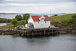 Fishing shed building on platform, harbour at Bronnoy, Bronnoysund, Nordland, Norway