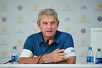 Nick Price speaks during round 1 player selection for the 2017 President's Cup, Liberty National Golf Club, Jersey City, New Jersey, USA. 9/27/2017.<br /> Picture: Golffile | Ken Murray<br /> <br /> <br /> All photo usage must carry mandatory copyright credit (&copy; Golffile | Ken Murray)