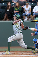 J.J. Altobelli #22 of the Oregon Ducks bats against the UCLA Bruins at Jackie Robinson Stadium on April 6, 2012 in Los Angeles,California. Oregon defeated UCLA 8-3.(Larry Goren/Four Seam Images)