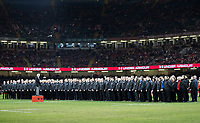 The male voice choir singing before kick off<br /> <br /> Photographer Simon King/CameraSport<br /> <br /> International Rugby Union - 2017 Under Armour Series Autumn Internationals - Wales v Australia - Saturday 11th November 2017 - Principality Stadium - Cardiff<br /> <br /> World Copyright &copy; 2017 CameraSport. All rights reserved. 43 Linden Ave. Countesthorpe. Leicester. England. LE8 5PG - Tel: +44 (0) 116 277 4147 - admin@camerasport.com - www.camerasport.com