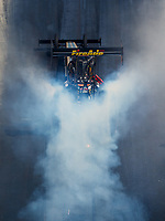 Sep 16, 2017; Concord, NC, USA; NHRA top fuel driver Leah Pritchett does a burnout during qualifying for the Carolina Nationals at zMax Dragway. Mandatory Credit: Mark J. Rebilas-USA TODAY Sports