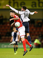 Bolton Wanderers' Gary Madine competing with Crewe Alexandra's Michael Raynes <br /> <br /> Photographer Andrew Kearns/CameraSport<br /> <br /> The Carabao Cup - Crewe Alexandra v Bolton Wanderers - Wednesday 9th August 2017 - Alexandra Stadium - Crewe<br />  <br /> World Copyright &copy; 2017 CameraSport. All rights reserved. 43 Linden Ave. Countesthorpe. Leicester. England. LE8 5PG - Tel: +44 (0) 116 277 4147 - admin@camerasport.com - www.camerasport.com