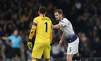 Tottenham Hotspur's Hugo Lloris is congratulated by Jan Vertonghen after saving a first half penalty<br /> <br /> Photographer Rob Newell/CameraSport<br /> <br /> UEFA Champions League Quarter-finals 1st Leg - Tottenham Hotspur v Manchester City - Tuesday 9th April 2019 - White Hart Lane - London<br />  <br /> World Copyright © 2018 CameraSport. All rights reserved. 43 Linden Ave. Countesthorpe. Leicester. England. LE8 5PG - Tel: +44 (0) 116 277 4147 - admin@camerasport.com - www.camerasport.com