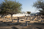 OKAHANDJA, NAMIBIA- AUGUST 11: Herero grave monuments seen at a cemetery in Okahandja, Namibia. The area was the venue for decisive battles of the Herero uprisings in 1904. The Herero accuse the German Empire of Genocide of its people from 1904-07. They are currently trying to make the German government compensate the descendants of the people killed.(Photo by Per-Anders Pettersson)