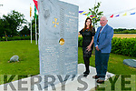 "To Mark the 5th birthday of O'Brennan NS Kielduff new Building the unveiling"" stonework that was commissioned under the Per Cent for Art Scheme.  was created by  Billy Leen pictured with Mary Leen"