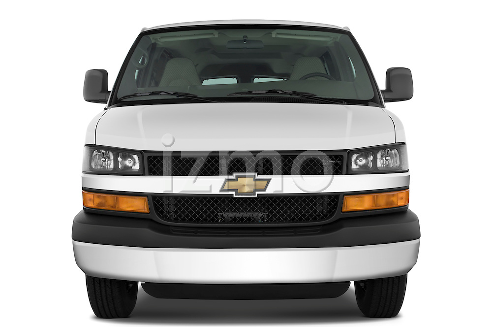 Straight front view of a 2008 chevrolet express 3500 passenger van