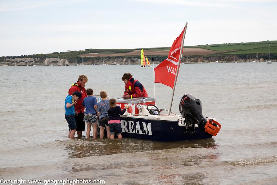 Ice cream boat Studland beach Dorset England