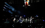 PASADENA, CA. - October 25: The Edge, Bono, Adam Clayton and Larry Mullen, Jr. of U2 perform in concert during their 360º Tour at the Rose Bowl on October 25, 2009 in Pasadena, California.