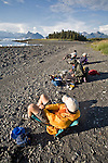 Alaska, Prince William Sound, Kayaking campsite, Heather Island, Sea Kayakers relax on a sunny afternoon, Columbia Bay, Chugach Mountains, USA, David Fox, Elliot Marks, Galen Tritt, released,.