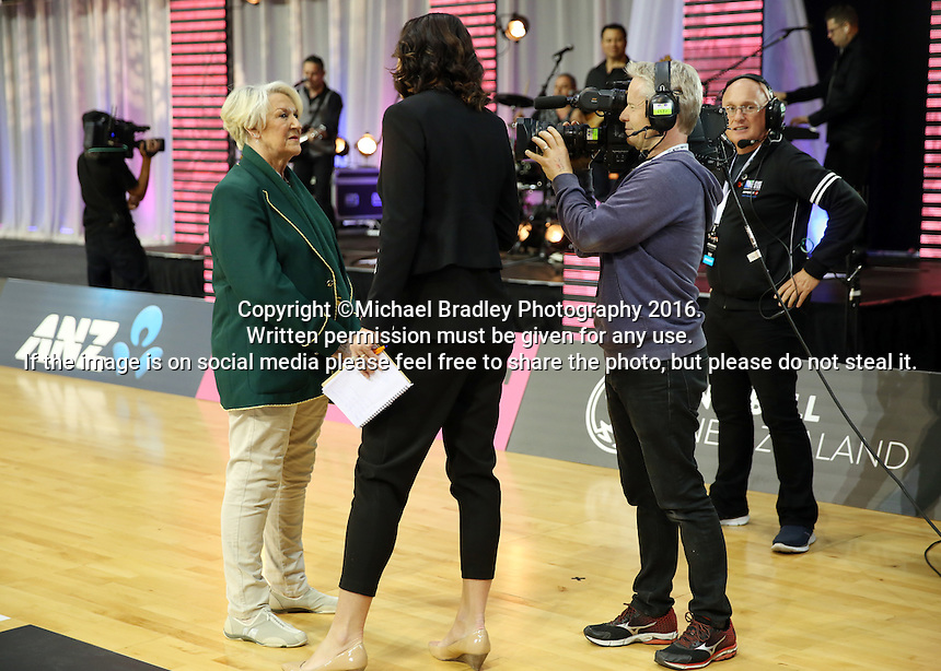 31.08.2016 South Africa coach Norma Plummer prior to the Netball Quad Series match between the Silver Ferns and South Africa played at Claudelands Arena in Hamilton. Mandatory Photo Credit ©Michael Bradley.