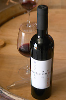 Cuvee Banyuls del Galateo. Domaine Coume del Mas. Banyuls-sur-Mer. Roussillon. France. Europe. Bottle. Wine glass.