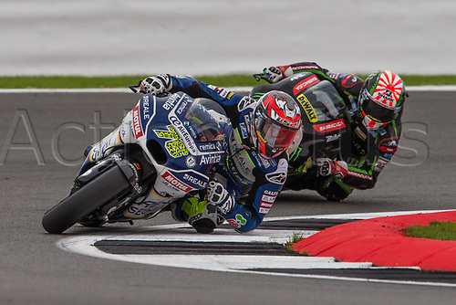26th August 2017, Silverstone Circuit, Northamptonshire, England; British MotoGP, Qualifying; Reale Avintia Racing MotoGP rider Loris Baz followed by Monster Yamaha Tech 3 MotoGP rider Johann Zarco