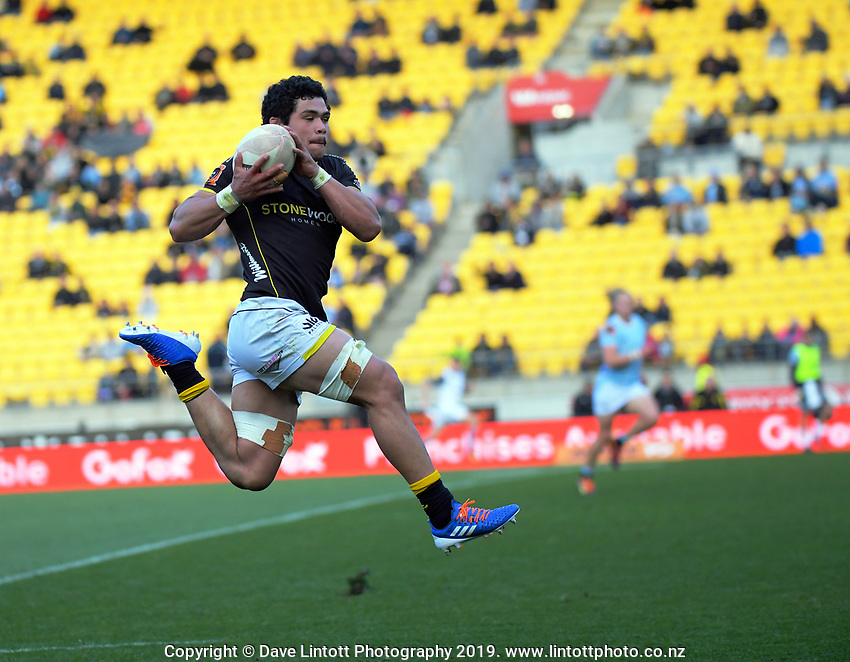 Duplessis Kirifi takes a pass during the Mitre 10 Cup rugby match between Wellington Lions and Northland Taniwha at Westpac Stadium in Wellington, New Zealand on Saturday, 28 September 2019. Photo: Dave Lintott / lintottphoto.co.nz