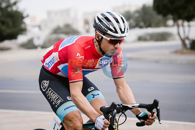 Race leader Alexey Lutsenko (KAZ) Astana Pro Team during Stage 6 of the 10th Tour of Oman 2019, running 135.5km from Al Mouj Muscat to Matrah Corniche, Oman. 21st February 2019.<br /> Picture: ASO/P. Ballet | Cyclefile<br /> All photos usage must carry mandatory copyright credit (© Cyclefile | ASO/P. Ballet)