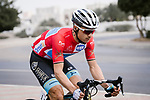 Race leader Alexey Lutsenko (KAZ) Astana Pro Team during Stage 6 of the 10th Tour of Oman 2019, running 135.5km from Al Mouj Muscat to Matrah Corniche, Oman. 21st February 2019.<br /> Picture: ASO/P. Ballet | Cyclefile<br /> All photos usage must carry mandatory copyright credit (&copy; Cyclefile | ASO/P. Ballet)