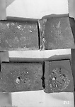 Pittsburgh PA:  View of steel plate defects encountered during fabrication - 1932. Sorry but we will need a metallurgist to provide a detailed analysis of the image!
