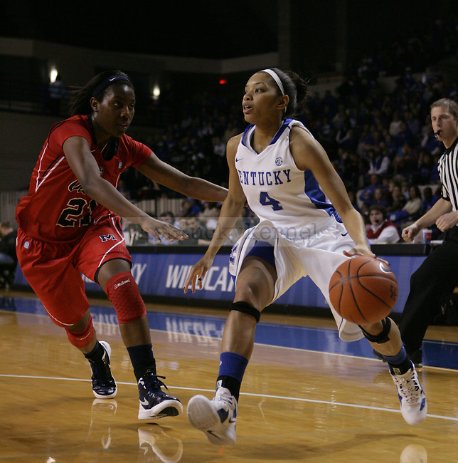 Senior guard Keyla Snowden dribbles the ball during the first half of UK Hoops vs. Ole Miss at Memorial Coliseum in Lexington, Ky., on Thursday, Feb. 2, 2012. Photo by Tessa Lighty | Staff