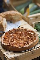 Europe/France/Midi-Pyrénées/46/Lot/Cahors: Jour de marché devant la cathédrale St-Etienne-détail clafoutis fermier aux abricots