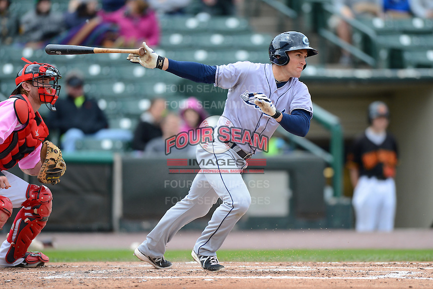 Columbus Clippers second baseman Cord Phelps #24 during a game against the Rochester Red Wings on May 12, 2013 at Frontier Field in Rochester, New York.  Rochester defeated Columbus 5-4.  (Mike Janes/Four Seam Images)