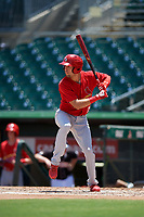 Palm Beach Cardinals right fielder Dylan Carlson (19) at bat during a game against the Jupiter Hammerheads on August 5, 2018 at Roger Dean Chevrolet Stadium in Jupiter, Florida.  Jupiter defeated Palm Beach 3-0.  (Mike Janes/Four Seam Images)