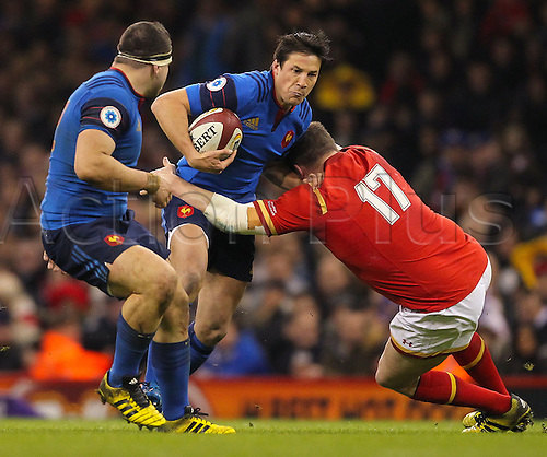26.02.2016. Principality Stadium, Cardiff, Wales. RBS Six Nations Championships. Wales versus France. France's Francois Trinh-Duc holds off Wales Gethin Jenkins