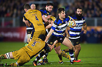 Adam Hastings of Bath Rugby takes on the Bristol Rugby defence. Aviva Premiership match, between Bath Rugby and Bristol Rugby on November 18, 2016 at the Recreation Ground in Bath, England. Photo by: Patrick Khachfe / Onside Images