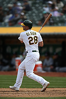 OAKLAND, CA - APRIL 18:  Matt Olson #28 of the Oakland Athletics bats against the Chicago White Sox during the game at the Oakland Coliseum on Wednesday, April 18, 2018 in Oakland, California. (Photo by Brad Mangin)