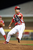 Batavia Muckdogs pitcher Michael Aldrete #16 during a NY-Penn League game against the Williamsport Crosscutters at Dwyer Stadium on August 24, 2012 in Batavia, New York.  Williamsport defeated Batavia 7-4.  (Mike Janes/Four Seam Images)