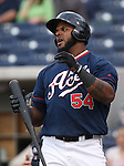 Reno Aces slugger Wily Mo Pena reacts to a pitch during Thursday's game, against the Tuscon Padres, June 16, 2011, in Reno, Nev..Photo by Cathleen Allison