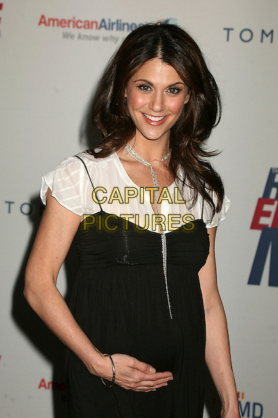 "SAMANTHA HARRIS.14th Annual Race to Erase MS Themed ""Dance to Erase MS"" at the Century Plaza Hotel, Century City, California, USA, 13 April 2007..half length pregnant hand on tummy bump black dress .CAP/ADM/BP.©Byron Purvis/AdMedia/Capital Pictures."
