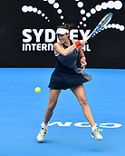 10th January 2018, Sydney Olympic Park Tennis Centre, Sydney, Australia; Sydney International Tennis, round 2; Gabrine Muguruza (ESP) in her match against Kiki Bertens (NED)