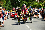 The breakaway group featuring Guillaume Van Keirsbulck (BEL) Wanty-Groupe Gobert, Dimitri Claeys (BEL) and Anthony Perez (FRA) Cofidis and Jerome Cousin (FRA) Direct Energie 1'40&quot; ahead during Stage 4 of the 2018 Tour de France running 195km from La Baule to Sarzeau, France. 10th July 2018. <br /> Picture: ASO/Alex Broadway | Cyclefile<br /> All photos usage must carry mandatory copyright credit (&copy; Cyclefile | ASO/Alex Broadway)