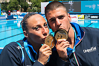 FLAMINI Manila MINISINI Giorgio ITA Gold Medal <br /> Duet Technical Final<br /> Synchronised swimming , Synchro<br /> 17/07/2017 <br /> XVII FINA World Championships Aquatics<br /> City Park - Varosliget Lake<br /> Budapest Hungary <br /> Photo Andrea Staccioli/Deepbluemedia/Insidefoto