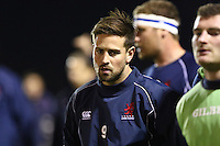 Matt Heeks of London Scottish warms up ahead of the Greene King IPA Championship match between London Scottish Football Club and Nottingham Rugby at Richmond Athletic Ground, Richmond, United Kingdom on 16 October 2015. Photo by David Horn.