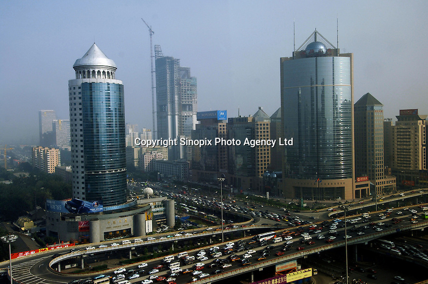 The Central Business District (CBD) of Beijing, China. The CBD is continually expanding and is the most important business and financial area in the Chinese capitol..