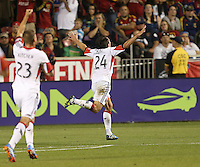 Lewis Neal #24 of D.C. United celebrates his goal against Real Salt Lake during the first half of the U.S. Open Cup Final on October  1, 2013 at Rio Tinto Stadium in Sandy, Utah.