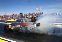 Mar 28, 2014; Las Vegas, NV, USA; NHRA funny car driver Cruz Pedregon during qualifying for the Summitracing.com Nationals at The Strip at Las Vegas Motor Speedway. Mandatory Credit: Mark J. Rebilas-