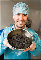 BNPS.co.uk (01202 558833)<br /> Pic: PhilYeomans/BNPS<br /> <br /> Harry Ferguson from the London Fine food company with one of the first crop of British caviar.<br /> <br /> A tiny fish farm in the shadow of Exmoor in Devon has become Britains only caviar farm, after perfecting the tricky production of the famous luxury.<br /> <br /> Since 2008 harvesting the famous Russian delicacy from the wild has been banned, after over fishing seriously threatened the survival of the Sturgeon that produced it.<br /> <br /> But with one fish capable of producing over &pound;2000 of 'black gold' the quest has been on to come up with a sustainable farmed alternative.<br /> <br /> Now celebrity chefs are queing up to buy the first harvest from Kenneth Benning's London Fine Food Company. <br /> <br /> Kenneth dreamt up the idea three years ago, with Pat and George Noble who ran the Exmoor farm. But they have had to wait untill the last few week's to start full scale production.<br /> <br /> Caviar farming is notoriously difficult with water temperature and quality critical and sturgeon taking from six to 25 years to grow large enough to start producing eggs to sell.<br /> <br /> Fortunately the Exmoor farm sits alongside the free flowing River Mole that provides a ready source of fresh water.