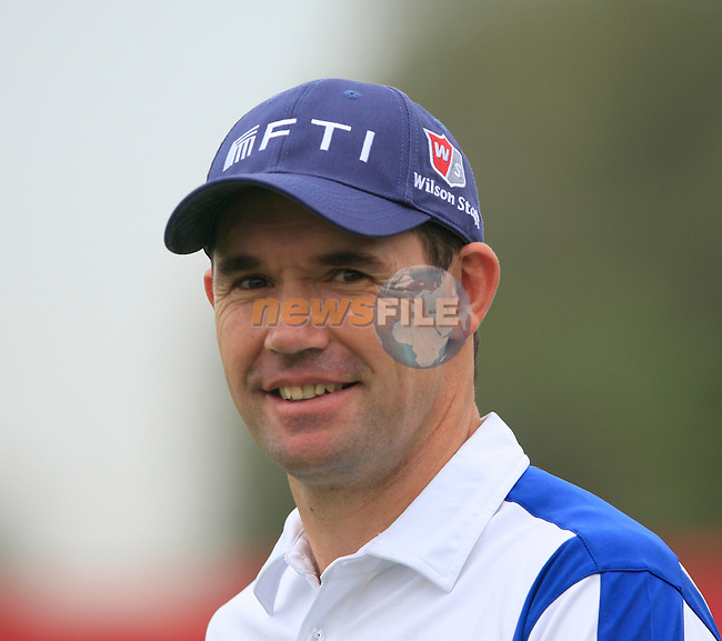 Padraig Harrington after teeing off the 1st tee for the Pro-Am match during practice day of the Abu Dhabi HSBC Golf Championship, 19th January 2011..(Picture Eoin Clarke/www.golffile.ie)
